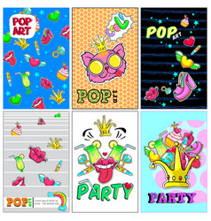 Colorful fashion patches posters vector