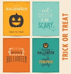 Colorful Typographical Halloween Greeting Card Set vector