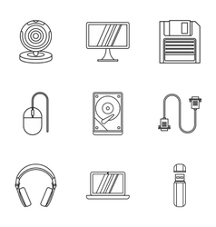 Computer protection icons set outline style vector