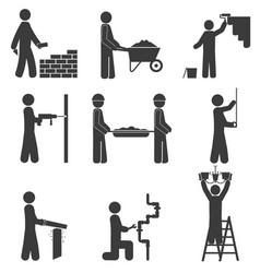 Construction icons renovation plumbing vector