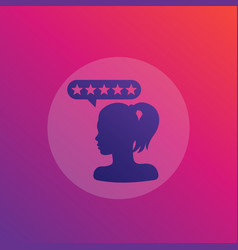 Customer satisfaction icon with girl vector