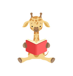 cute giraffe sitting on the floor and reading book vector image
