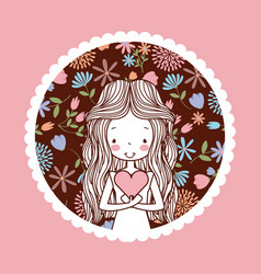 Cute woman hand drawn emblem image vector