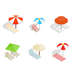 Deck chair icon set isometric style vector