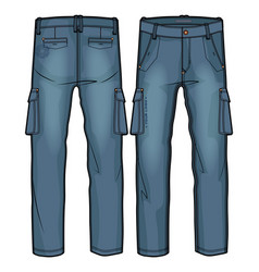 denim cargo pants with large side pockets vector image