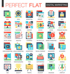 Digital marketing complex flat icon concept vector