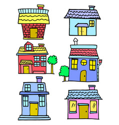 Doodle of house various cartoon design vector