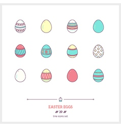 Easter eggs Line Icons Set vector