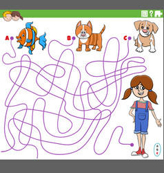 Educational maze game with cartoon girl and pets vector