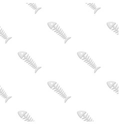 Fish skeleton icon in cartoon style isolated on vector