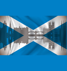 flag of scotland with edinburgh skyline vector image