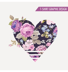 Floral Heart Graphic Design - for t-shirt prints vector image