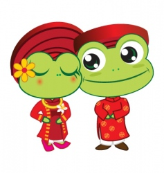 Frogs wedding vector