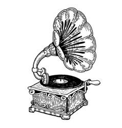 Gramophone engraving style vector