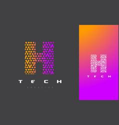 H letter logo technology connected dots letter vector