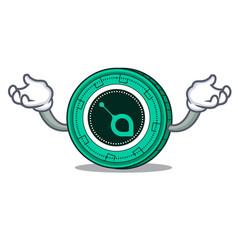 Hand up siacoin character cartoon style vector