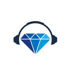 headphone diamond logo icon design vector image