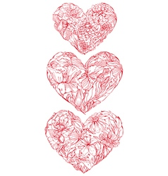 heart flowers set 380 vector image