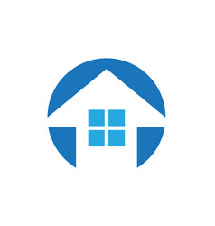 house building shape arrow logo vector image