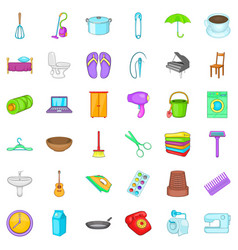 House thing icons set cartoon style vector