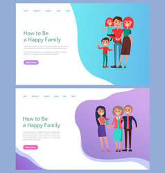 how to be happy family father and mother kids vector image