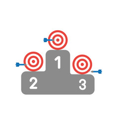 icon concept of bulls eye and darts on winners vector image