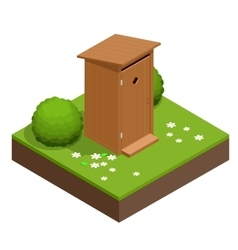 Isometric wooden bio toilet cabin hiking services vector