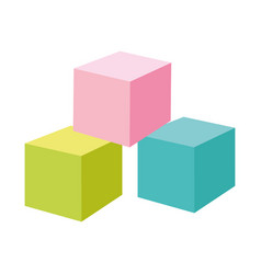 kids toys color cubes cartoon isolated icon design vector image