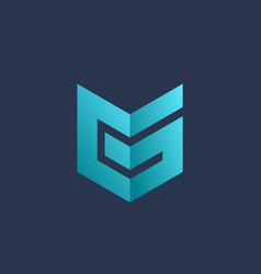 letter g number 6 shield logo icon design vector image