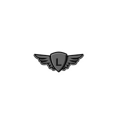 Letter l initial logo wing and badge shield vector