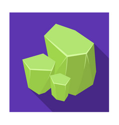 Light green rough gemstone icon in flat style vector