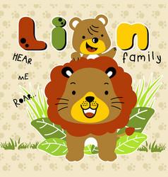 Lion family cartoon vector