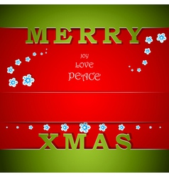 Merry Xmas green and red card with wishes vector image