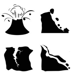 Mountain volcano earthquake landslide icon vector