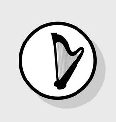 musical instrument harp sign flat black vector image