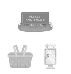 Park equipment monochrome icons in set collection vector