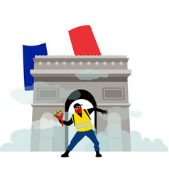 people in yellow vests with flower arcde triomphe vector image