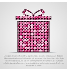 Pink sequin gift box Eps 10 vector