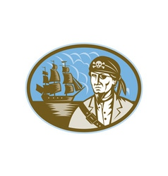 Pirate with sailing tall ship vector image