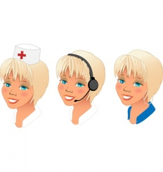 profession women avatars set vector image
