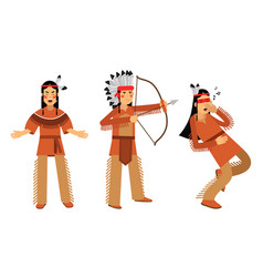 Red indian or american indians in national vector
