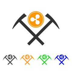 Ripple coin mining hammers icon vector