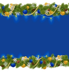 Sapphirine Christmas Border with Garland vector image