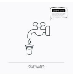 Save water icon Crane with drop sign vector image