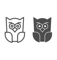 Scary owl line and solid icon forest night bird vector