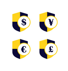 secure payment coin shield dollar yen yuan vector image
