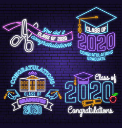 set class 2017 neon bright signboard vector image