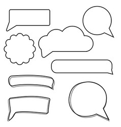 set of stickers of speech bubbles blank empty vector image