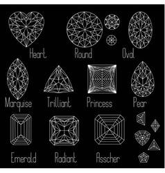 Set of stone cuts scheme on black background vector