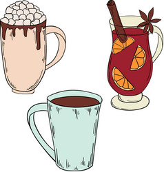 Set of winter drinks cocoa and mulled wine vector